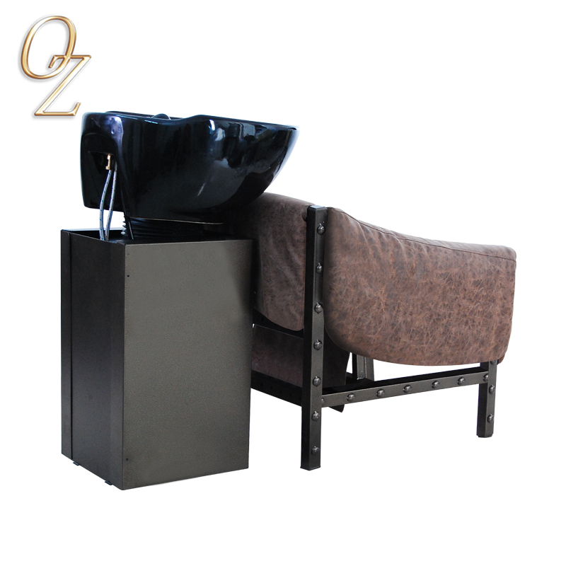 Loft Style backWash Chair Hair Salon Furniture Brown Shampoo Units With Replaceable Cushion