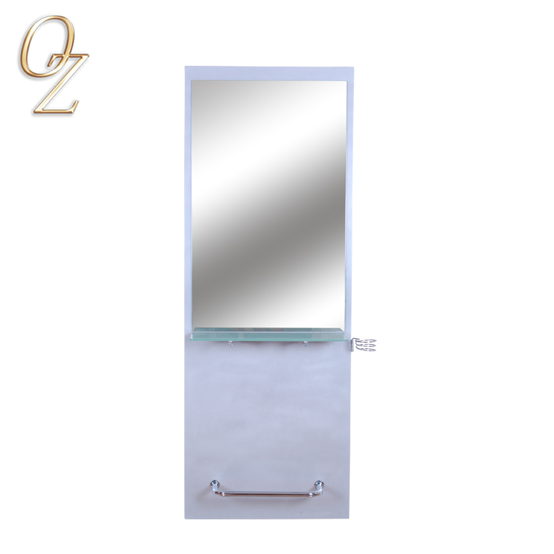 Stand Up Mirror With Footrest Hair Styling Mirror Station Factory Price Salon Mirror