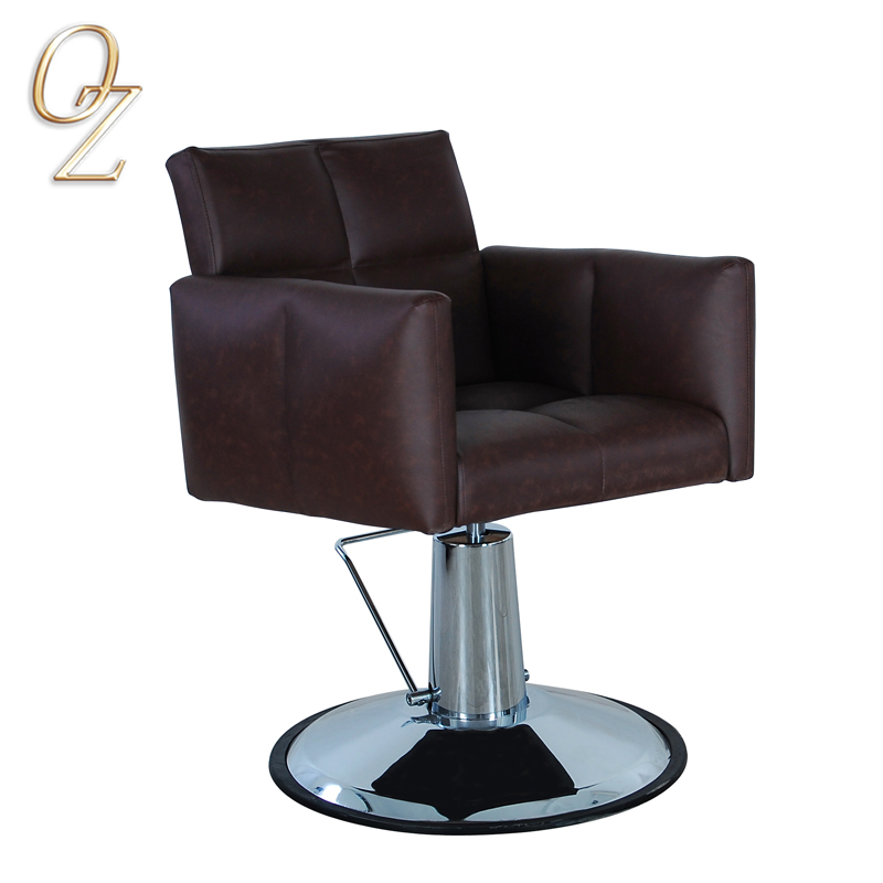 Brown Hydraulic PVC Vinyl Hair Salon Beauty Salon styling Chair Factory