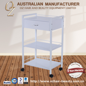Portable Beauty Trolley Wooden Salon Cart Beauty Spa Trolley White Melamine Board