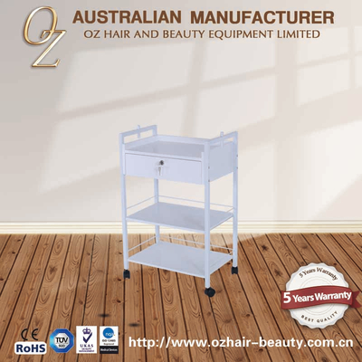 White Wooden Manicure Rolling Cart Beauty Facial Medical Beauty Equipment Carts Beauty Salon Rolling Trolley