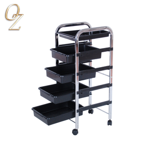 Plastic Hair Salon Rolling Cart Coloring Hair Trolley